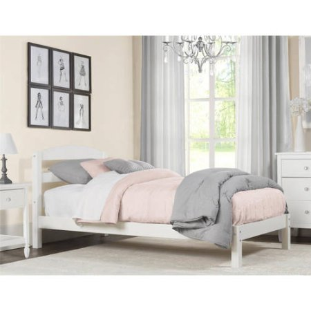 Twin Size Bed (White) - Spring Garden Twin Slat