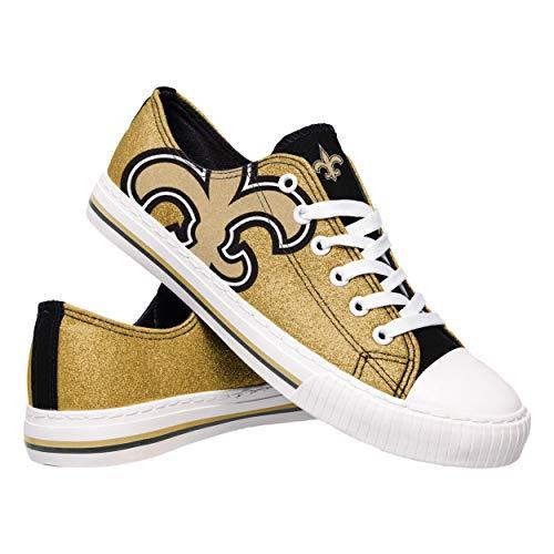 FOCO NFL New Orleans Saints Womens Glitter Low Top Canvas Shoesglitter Low Top Canvas Shoes, Team Color, 7/Medium