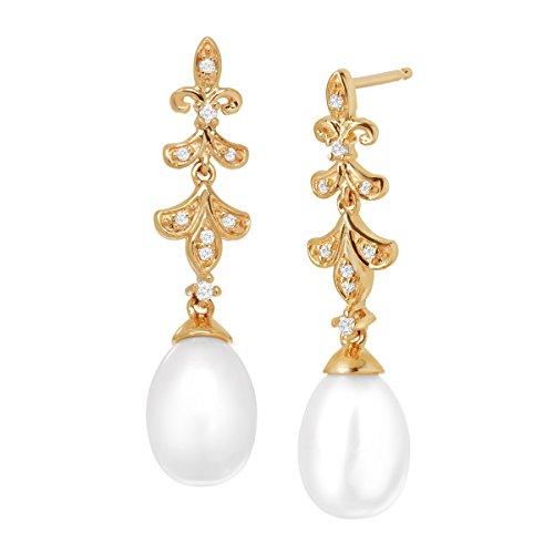 Fleur-De-Lis Freshwater Cultured Pearl Drop Earrings with Diamonds in 10K Gold