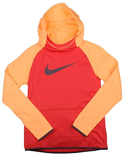 Nike Girl's Dri-Fit Thermal Pullover Hooded Sweatshirt Red Orange 912987 850 (s)