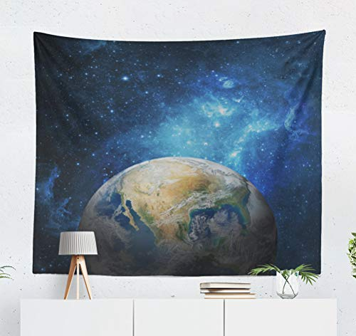 KJONG Earth and Galaxy NASA Space Universe Planet Globe Star Moon Journey Decorative Tapestry,50X60 Inches Wall Hanging Tapestry for Bedroom Living Room ()