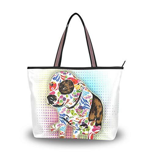 Pit Bull Handbag - DEYYA Women's Sugar Skull Pit Bull Large Handbags Shoulder Tote Top-handle Bag Clutch Purse