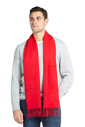 Fishers Finery Men's 100% Pure Cashmere Scarf; Fashionable Warmth (Cardinal Red)