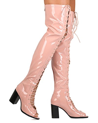CAPE ROBBIN FG68 Women Patent Leatherette Thigh High Peep Toe Lace Up Chunky Heel Boot - Pink 4hVqDBrah