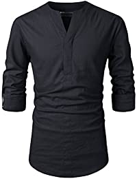 Beloved Men Henley Neck Long Sleeve Daily Look Linen Shirts