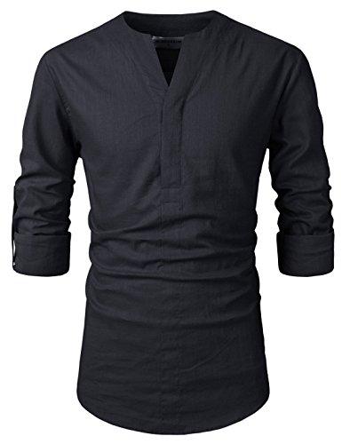 NEARKIN (NKNKN370 Mens No-Button Slit Vanguard Linen Henley Neck Shirts Black US XXXL(Tag Size 3XL) -
