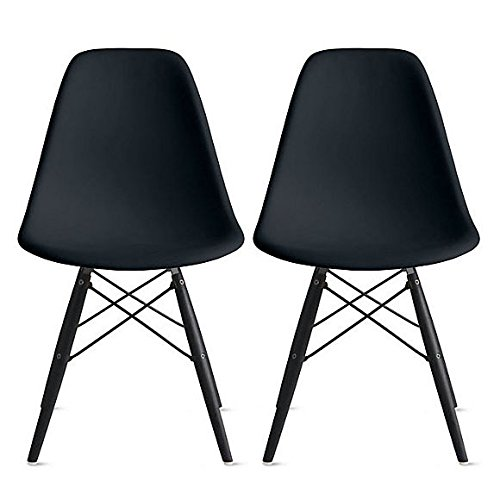 Incredible 2Xhome Set Of Two 2 Black Plastic Side Black Dark Wood Legs Eiffel Dining Room Chair Lounge Chair No Arm Armless Less Chairs Seats Molded Creativecarmelina Interior Chair Design Creativecarmelinacom