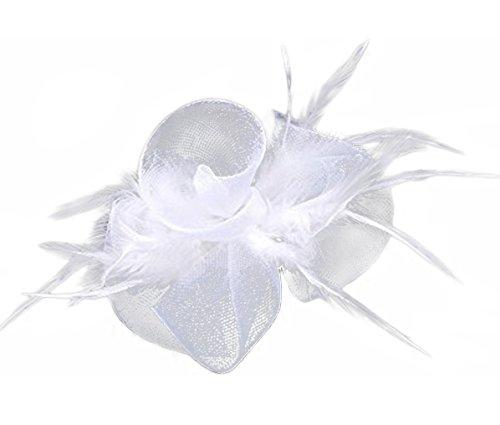 [Anita Women's fascinators Feather Flower Hat headdress,White] (White Top Hat Fascinator)