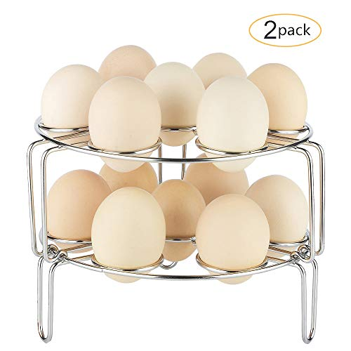 Egg Steamer Rack,Sapoelis Dishes Steam Rack Trivet for Instant Pot Accessories,Fits for Instant Pot 5,6,8 qt Pressure Cooker-2 PCS Stackable 304 Stainless steel Multipurpose Cooling Rack