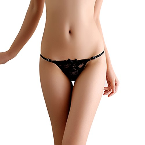 Milly Store Women Tie Panties Bowknot Ribbons Lace Thongs Panties Adjustable G-String Underwear (Black)