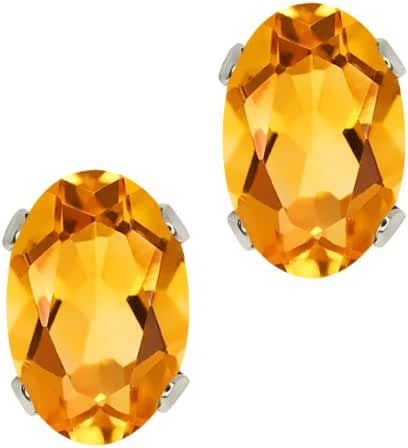 0.80 Ct Oval Shape Yellow Citrine Sterling Silver Stud Earrings