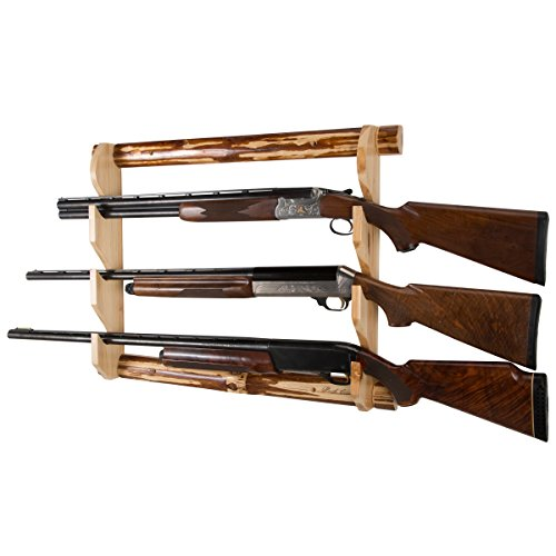Rush Creek Creations Rustic Gun Wall Storage Rack - Handcrafted Solid Pine - Easy to Assemble