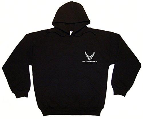 Spiffy Custom Gifts U.S. Air Force Embroidered Hoodie Sweatshirt Large Black