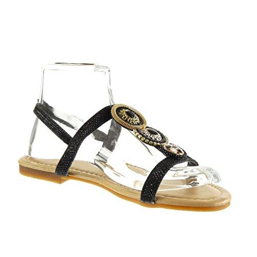 Angkorly - Scarpe da Moda sandali cinturino donna strass gioielli Tacco a blocco 1.5 CM - Nero
