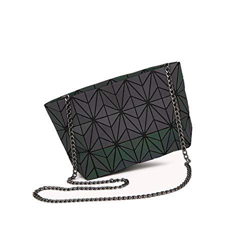 Geometric Cross-Body Messenger Bag Shoulder Bag Evening Hangbag Purse with Metallic Strap For Women (M-2)