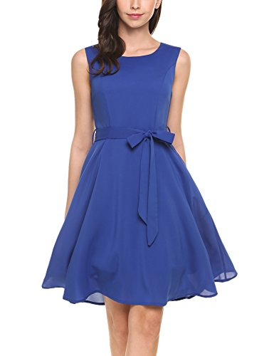 Zeagoo Women's Sleeveless Pleated A-Line Graduation Party Dress(Blue,S)