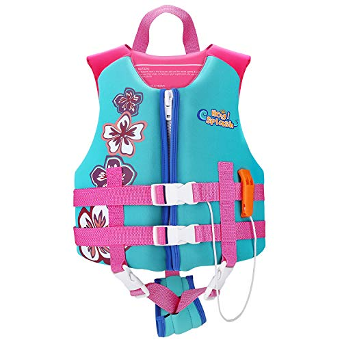 HeySplash Life Jacket for Kids, Child Size Watersports Swim Vest Flotation Device Trainer Vest with Survival Whistle, Easy on and Off, Lake Blue, Medium Size (Suitable for 37-55 lb)