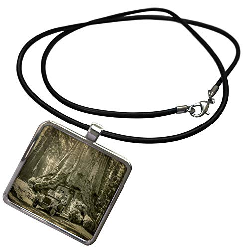 3dRose Scenes from The Past - Stereoview - 1920s Tourists Driving Through Wawona Tunnel Tree Giant Sequoia - Necklace with Rectangle Pendant - Lobster Mariposa