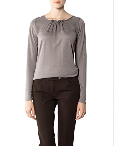 RENÉ LEZARD Damen T-Shirt Viskose Shortsleeve Unifarben, Größe: 38, Farbe: Beige