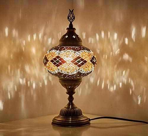 - Demmex 2019 Turkish Moroccan Mosaic Table Bedside Night Tiffany Bedside Lamp for US Use, Brown, Amber