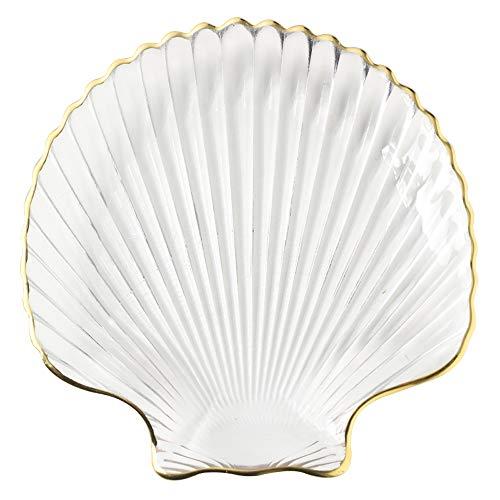 (FREELOVE Glass Dessert Plate/Jewelry Tray/Decorative Platter, Marine Season with Phnom Penh (Clear, Shell))
