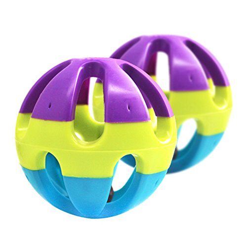 Angel3292 Pet Toy Plastic Ball with Bell for Hamster Cat Parrot Dog Rabbit Chase Game size M ()