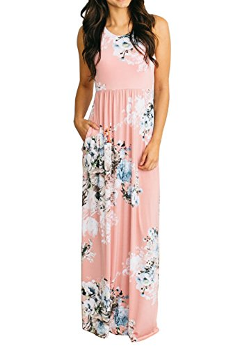 roswear Women's Summer Casual Floral Print Racerback Sleeveless Tunic Maxi Dress Pink (Pink Floral Summer Dress)