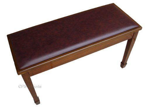 Walnut Genuine Leather Concert Grand Duet Piano Bench by CPS Imports (Image #2)