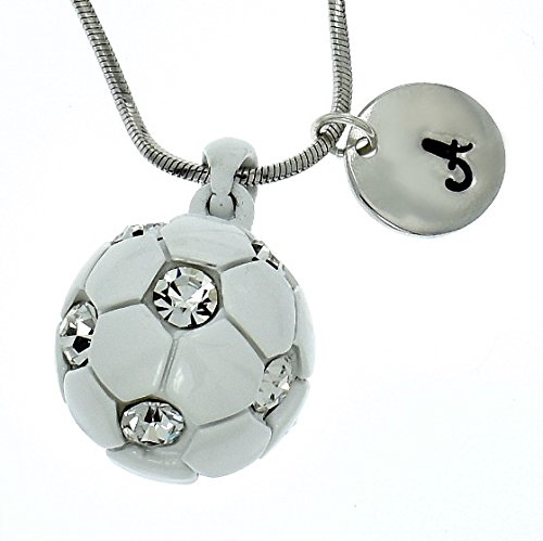 Customizable Soccer Football White Ball Necklace Sparkling Clear Crystal Pendant Chain Personalized Hand Stamped Initial Letter Silver Round Custom Charm Gift Jewelry