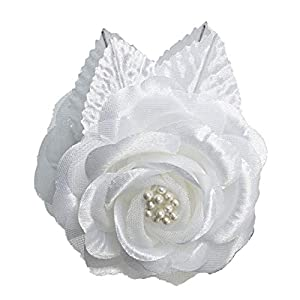 12 Silk Roses Wedding Favor Flower Corsage Pick - White 81