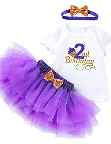3Pcs Outfit Set Baby Girls Two Year Old Birthday Lace Tutu Shirt Skirt with Headband (Purple 2nd, 2T)]()