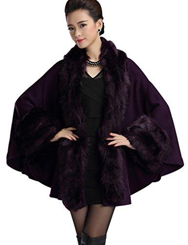 Aphratti Knit Wool Scarf Shawl Cape with Luxury Faux Fox Fur Collar One Size Full Purple