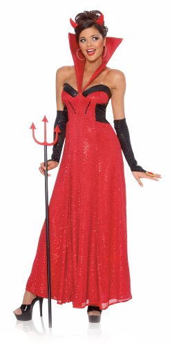 Hollywood Devil Costumes (Devil Hollywood Female (Red) Adult Halloween Costume Size 4-6 Small)