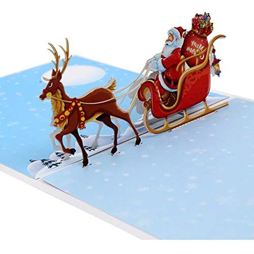 Kentop Weihnachtskarte 3D Pop Up Weihnachtsmann und Rentier Weihnachtskarte mit Umschlag Weihnachten Adventskarte Gru/ßkarte Geschenkkarte