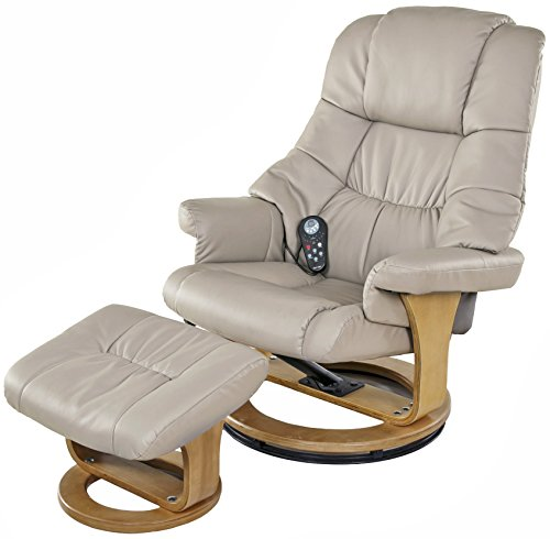 (Relaxzen 8 Motor Massage Recliner with Heat and Ottoman, Beige and Wood Base)