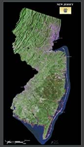 "New Jersey from space satellite map / print poster / photo: 23"" x 40"" Glossy"