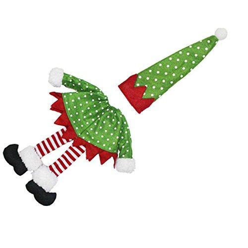 skyoo Navidad botella de vino cubierta lunares rayas funda de la ...