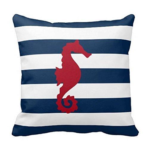 baihis Funda de cojín con diseño de caballo de mar rojo ...