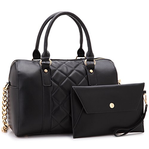 Dasein Women Soft Vegan Leather Barrel Bags Large Top Handle Totes Satchel Handbags Shoulder Purse W/Wallet Black (Black Quilted Handbags)