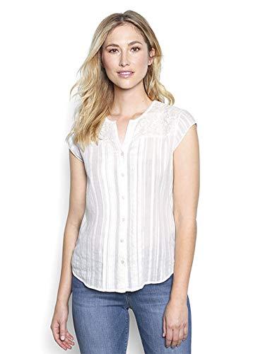- Orvis Lace-Yoke Cap-Sleeved Shirt, Pearl, Small