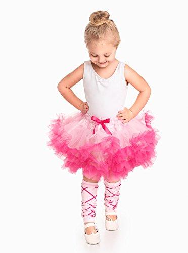 Little Adventures Pink/Hot Pink Fluffy Ballerina Tutu for Girls - One Size (3-8 Yrs) (Pink Fluffies Leg Warmers)