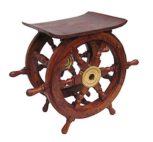 Nautical Decor Sheesham Wood Decorative Ship Wheel with Brass Center Home Decoration Gifts (Shipwheel Table) -