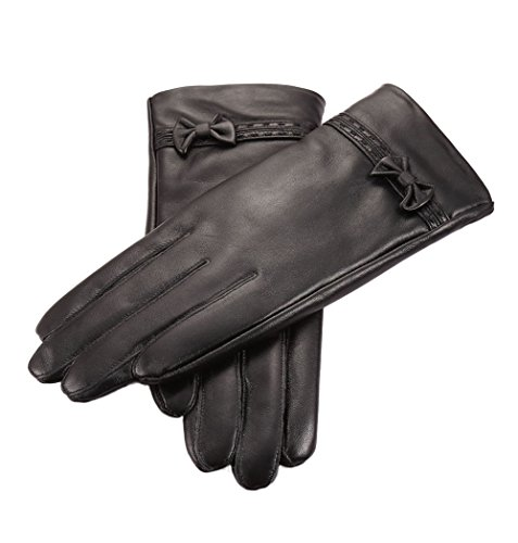 SHINE Women's Genuine Leather Gloves Cold Weather Warm Fleece Lined Gloves, Black, Medium