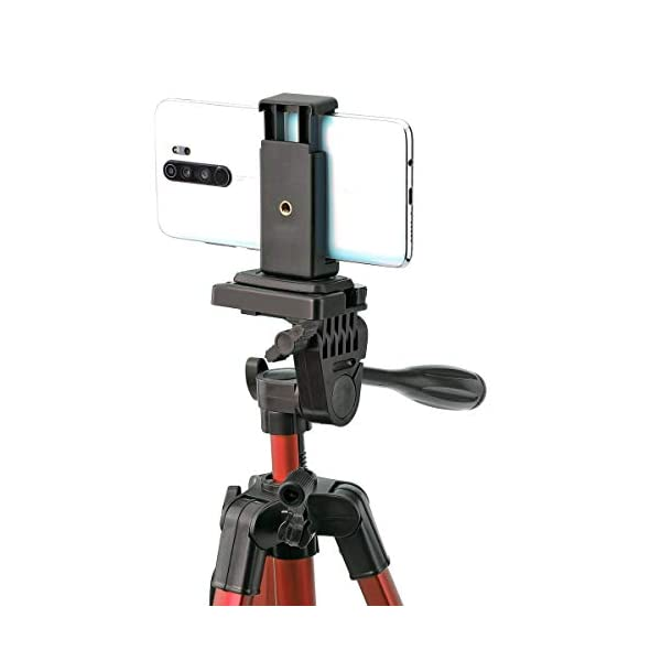 RetinaPix Simpex Camera Tripod 6633 with Mobile Holder Bracket for Smartphones, DSLR and Cameras (Red)