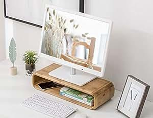 Bamboo Monitor Neck Protection Stand Riser Storage Organizer Office Computer Desk Laptop, Printer Stand Single Layer Desktop Container Data Line Storage(45cmx17.5cmx10cm)