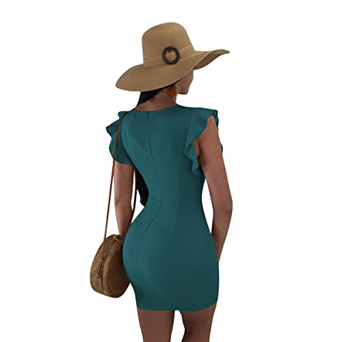 Neck Out Lady Cut Dress Mini Ruffle Button for Short Linaking Dress Bodycon Women Tie Hipsters Green Sleeve V Knot Down wqOXITY