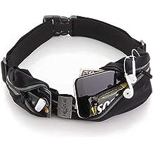 "Tenplus Running Waist Pack Compatible Sharp A2 Lite FS8026 5.7"", Waterproof Reflective Adjustable Running Belt with Dual Pouch Workout Fitness Gym Phone Holder for Men, Women (Black)"