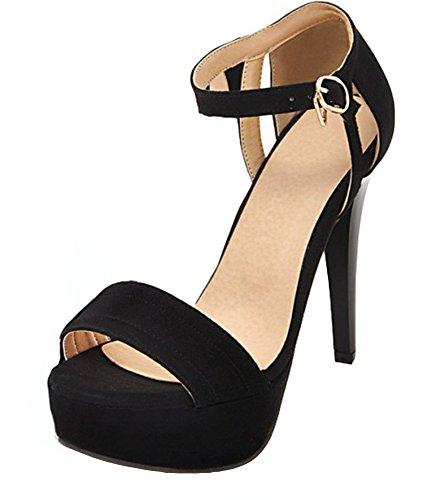 Aisun Donna Sexy Con Fibbia Stiletto Tacchi Alti Open Toe Cinturino Alla Caviglia Sandali Con Plateau Nero