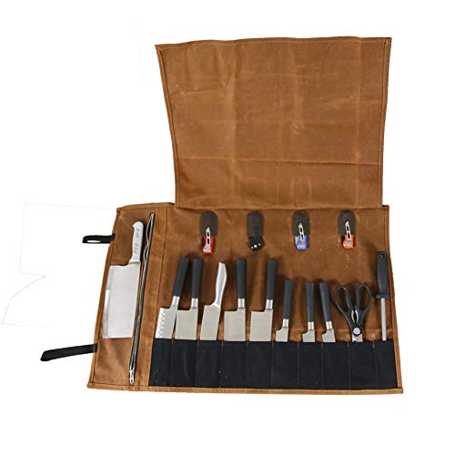 Multi-Purpose 15 Pockets Waxed Canvas Kitchen Travel Knife Holder Waterproof Chef's Knife Roll Up Wrap Protectors Silverware Case Storage Tote Pouch For Barbecuing Camping(HGJ17-I) by Hersent
