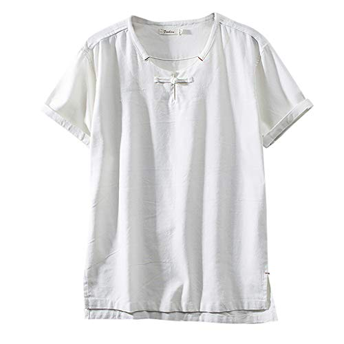 Mens Casual Linen Shirt Tronet Summer Fashion Cotton Linen Solid Color Short Sleeve Retro T Shirts Tops Blouse
